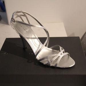 Elie Tahari Strappy Silver High Heel Sandals